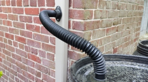 Close up of the downspout diverter