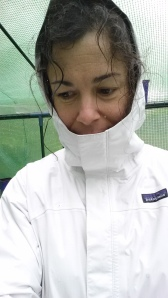 Me taking shelter from the rain in the greenhouse